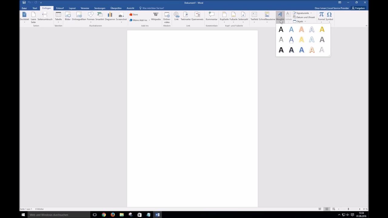 Word 2016 Einfügen von WordArt - YouTube