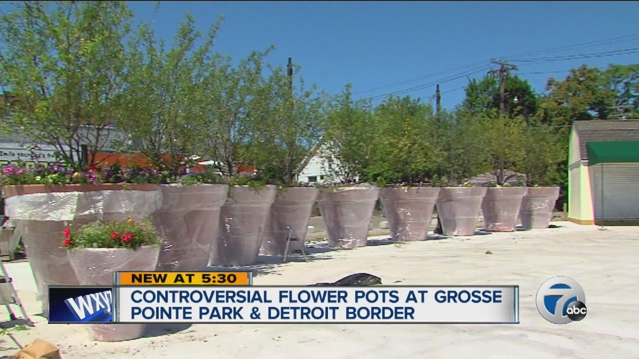 Controversial Flower Pots At Grosse Pointe Park And