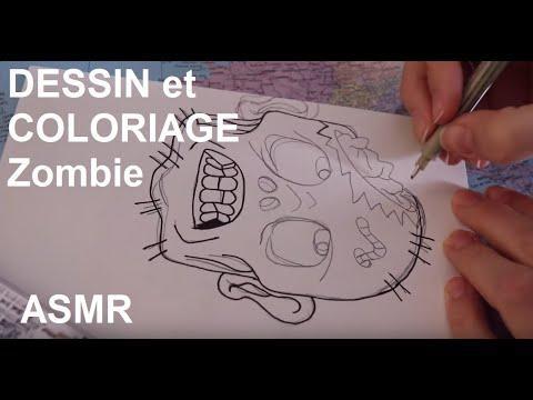 Asmr Francais Dessin Et Coloriage Zombie Youtube