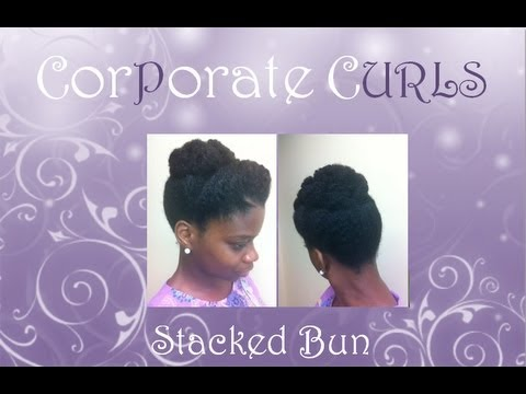 Cinnabun / Stacked Bun Natural Hair Style / Rainy Day Natural Hair Style
