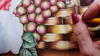Uvas rosê e cesta – vídeo 2 Ana Ferrante Pintura em Tecido
