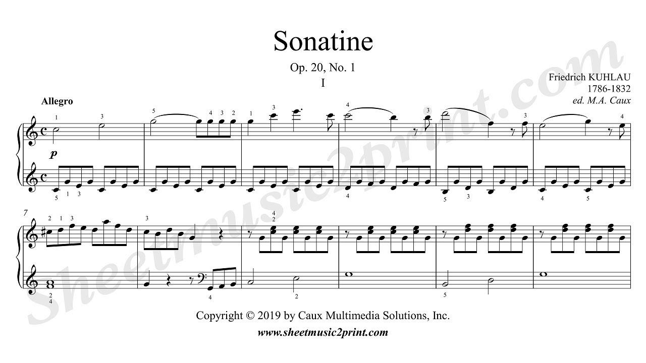 kuhlau : sonatina op. 20, no. 1 (1/3 : allegro) - youtube  youtube