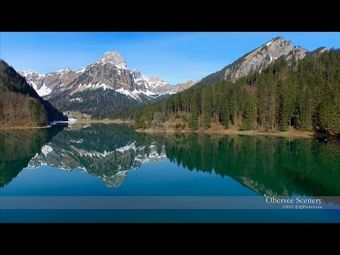 4K Lake Obersee Näfels, Glarus SWITZERLAND 湖 aerial views