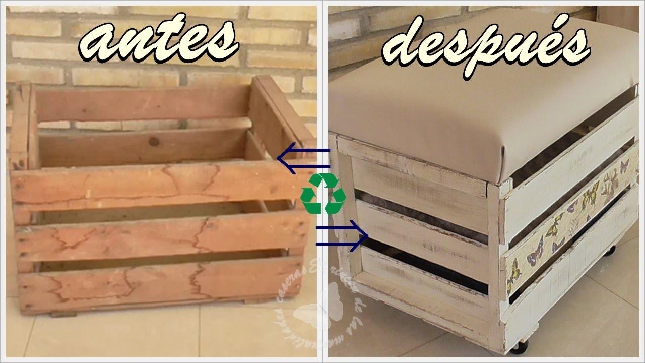 Reciclamos una caja de madera en banqueta ba l caj n de - Como hacer bancos de madera ...