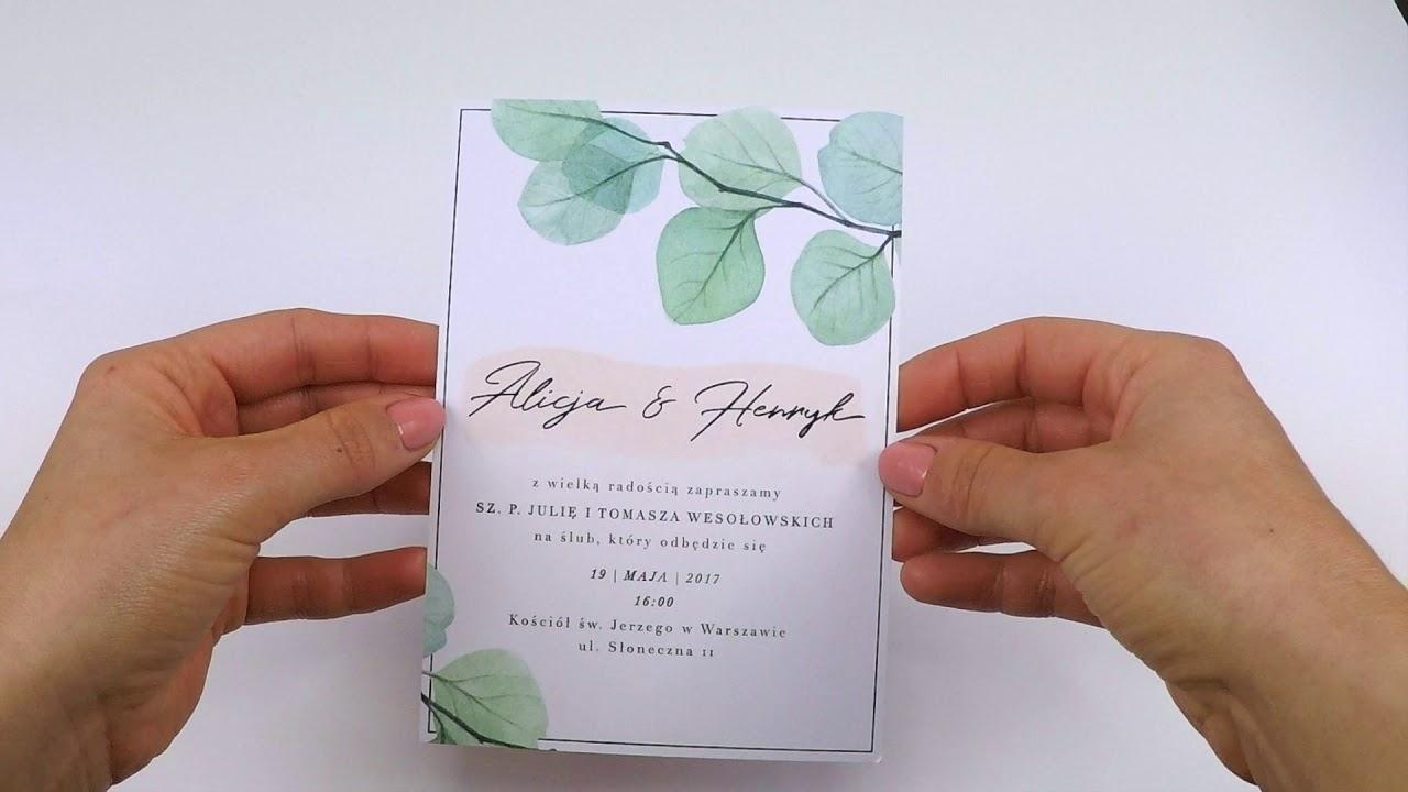 Zaproszenie ślubne Boho Eucalyptus Youtube