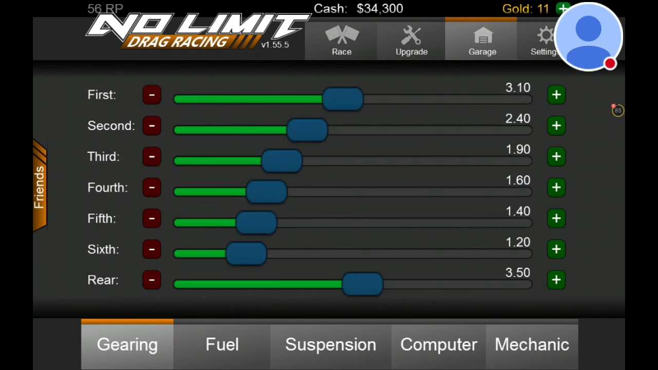 No Limit drag racing best tuning
