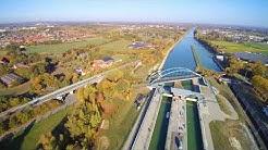 Dortmund-Ems-Kanal an der Schleuse in Münster (UHD / 4k)