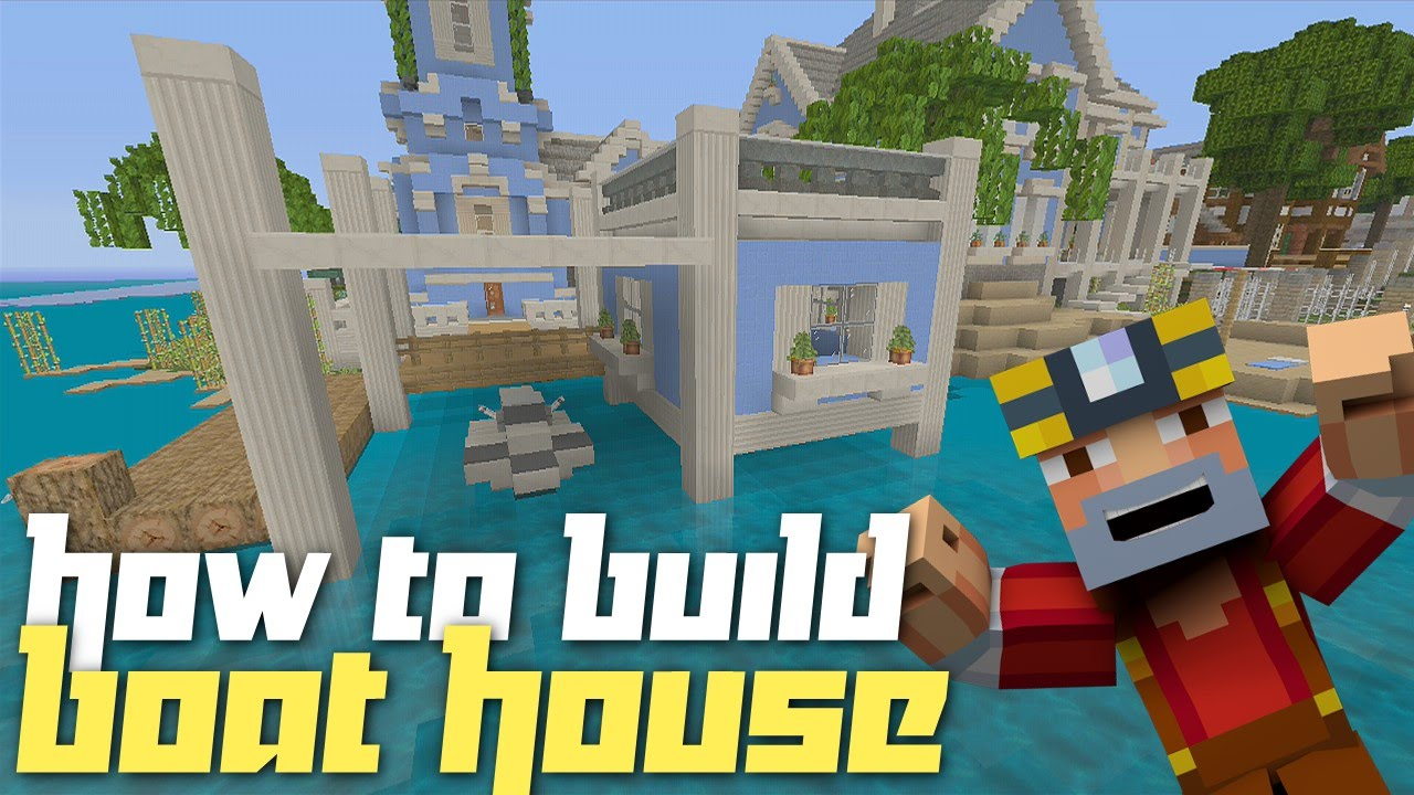 Minecraft Xbox 360: How to Build a Boat House w/ Jet Ski! - YouTube