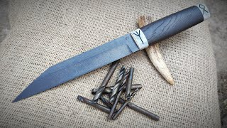 WOOTZ steel from old drills . MAKING A VIKING SEAX!!!