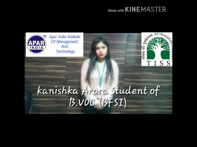 Kanishka Arora student of B.VOC (BFSI) @ TISS-SVE