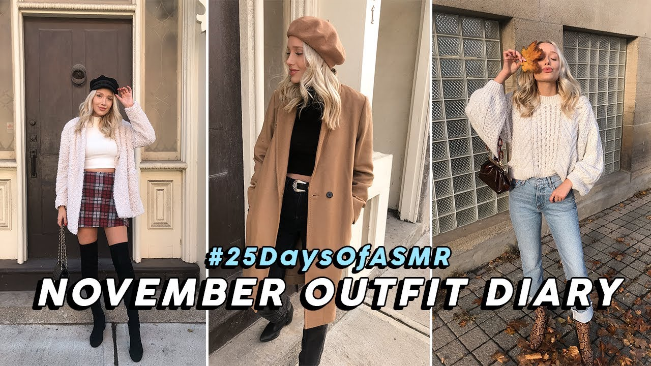 ASMR November Outfit Diary! Winter Fashion Ideas (Tapping, Fabric, Whispers) #25DaysOfASMR 1