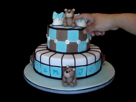 Fondant Cake For Baptism : Christening / Baptismal Fondant Cake with Teddy Bear theme ...