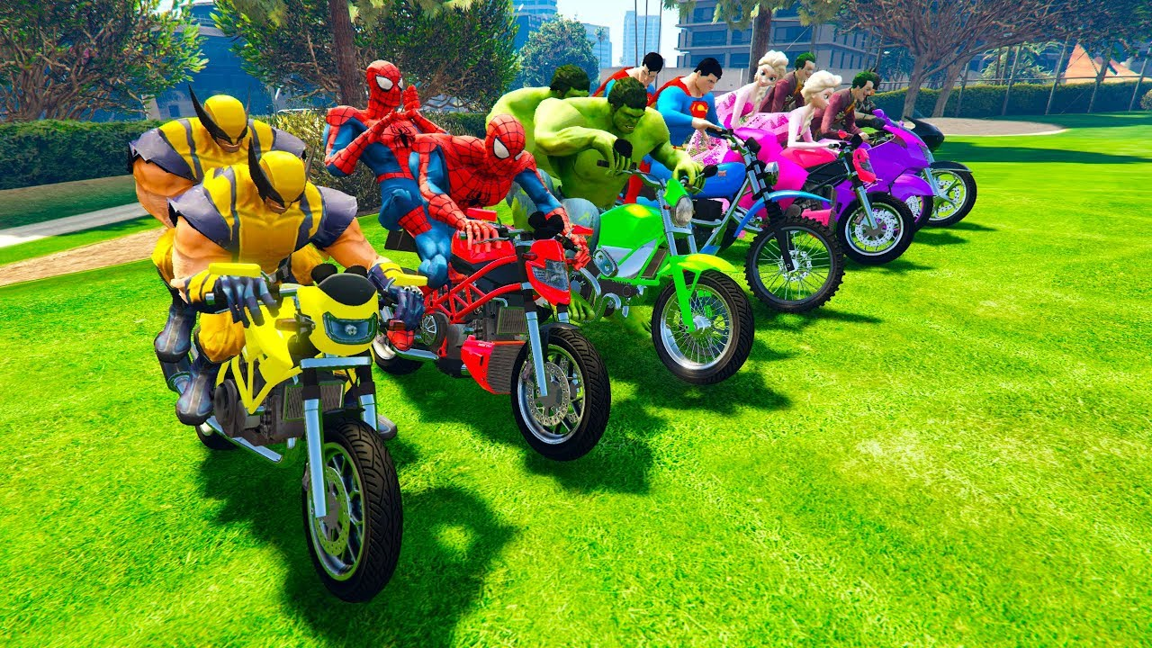LEARN COLOR with Superheroes Motorcycles golf park and Police cars ...
