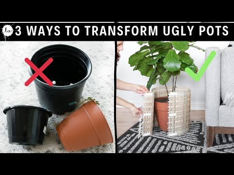 Easy Planter Pots HACK IN MINUTES! 3 Ways To Transform Ugly Plastic Pots  Complete Makeover