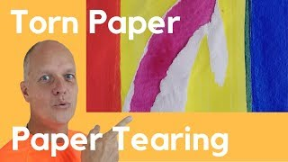 Torn paper artwork - Paper tearing art - Easy abstract acrylic painting tutorial