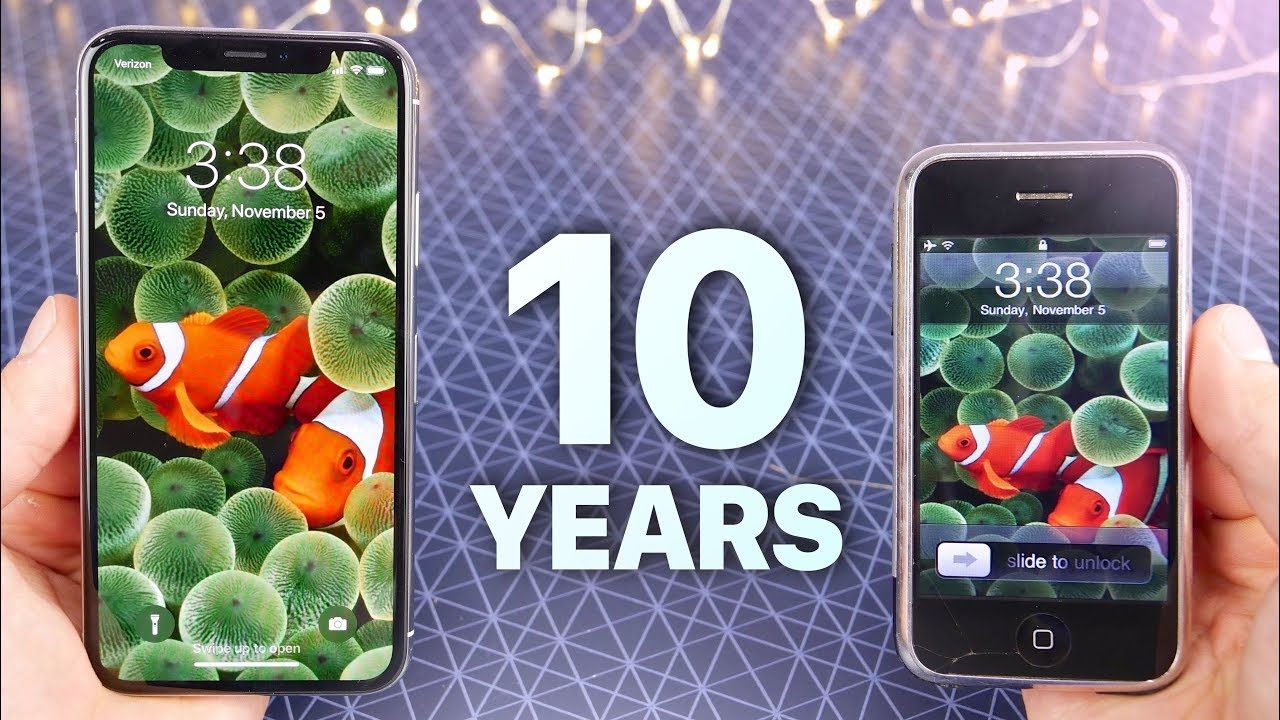 Iphone X Vs First Iphone 10 Year Comparison Youtube
