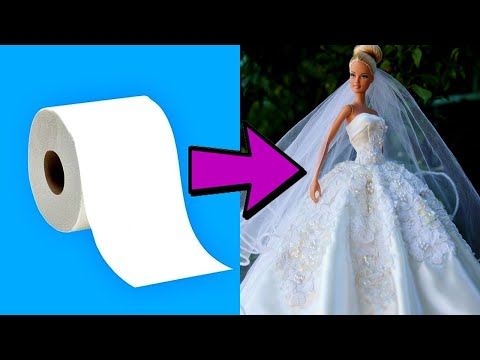 diy---barbie-wedding-dress-from-toilet-paper---easy-and-cheap-5-minute-crafts