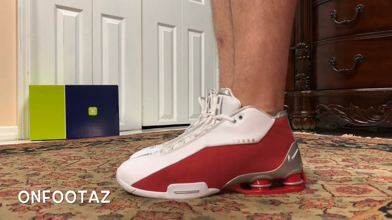 Nike Shox BB4 White Varsity Red 2019 On Foot