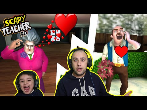 Scary teacher 3d | Valentines day special | Super glued | Game play