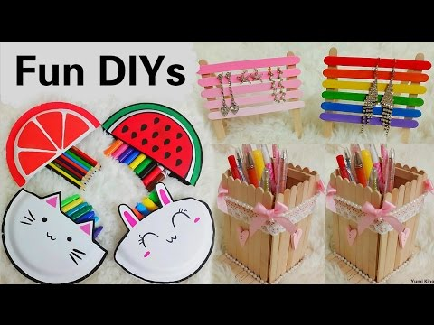 3 Creative DIYs:DIY Pencil Cases out of Disposable Plates+DIY Popsicle sticks Pencil&Jewelry Holders