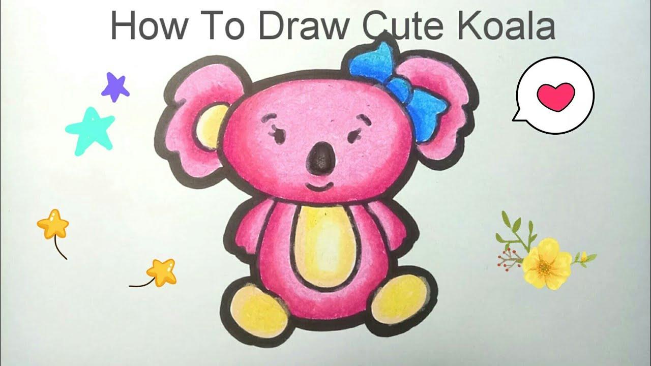 Menggambar Dan Mewarnai Koala How To Draw Koala Mewarnai Dengan Crayon