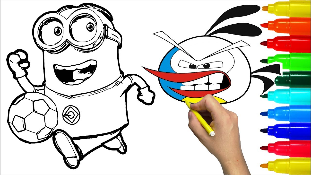Angry birds minion hello kitty coloring pages colouring pages for kids with colored markers