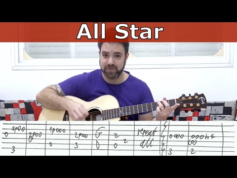 Fingerstyle Tutorial: All Star (Smash Mouth Instrumental) -- Guitar Lesson W/ TAB