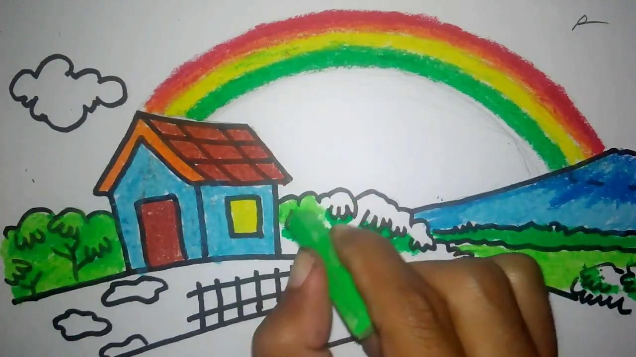 Cara Menggambar Pelangi Dibelakang Rumah Youtube