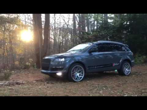 Audi Q7 wrap nardo grey on 22s custom - YouTube