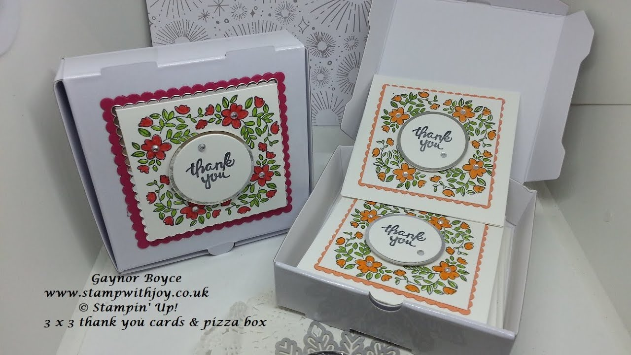 circular stampin with the stamparatus 3 x 3 mini thank you cards