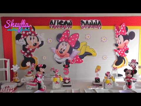 Decoración Minnie Coqueta Dorada Fiesta De Niñas Mini