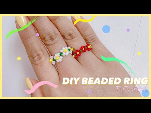 [DIY FLOWER BEADED RING] 패션하울에서 소개한 비즈 꽃반지 만들기| 비즈반지 선미반지 비즈공예 취미생화ㄹ