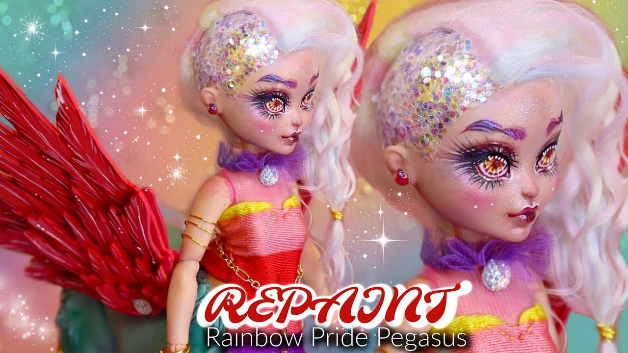 REPAINT ! Rainbow Pegasus Centaur #PRIDE OOAK Barbie Cave Club Hybrid Custom Doll Tutorial