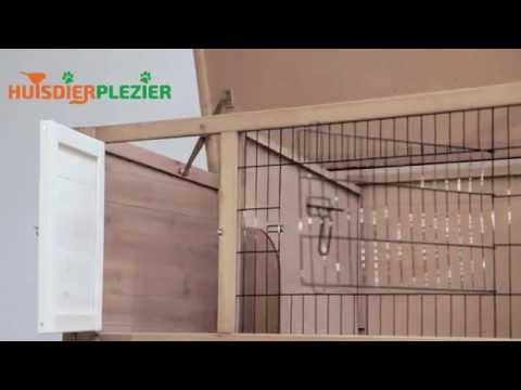 Huisdierplezier.nl | Konijnenhok classic Cottage taupe | Konijnenhok bouwen