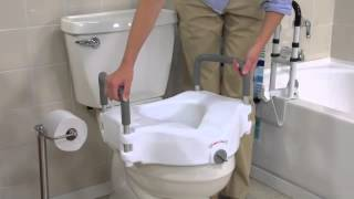 Drive Medical - 2 in 1 Locking Elevated Toilet Seat with Tool Free Removable Arms