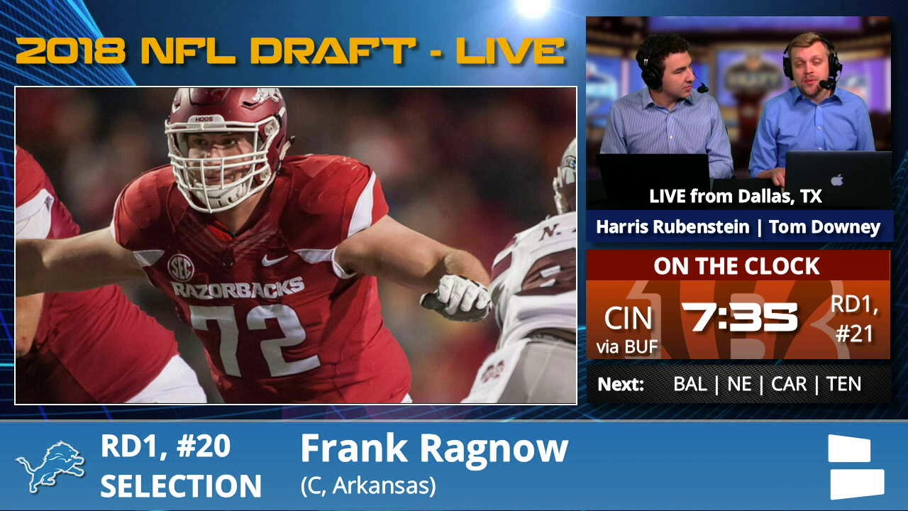 2a38cc467 Detroit Lions Select OL Frank Ragnow From Arkansas With Pick  20 In 1st  Round Of 2018 NFL Draft