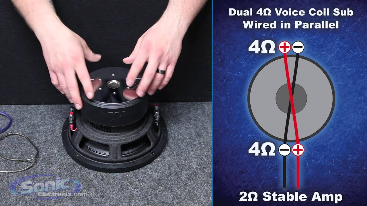 How to Wire a Dual 4 ohm Subwoofer to a 2 ohm Final Impedance | Car  Ohm Dvc Wiring Diagram on dual voice coil sub wiring-diagram, 2 ohm dvc wiring-diagram, bridge 2 subwoofers wiring-diagram,