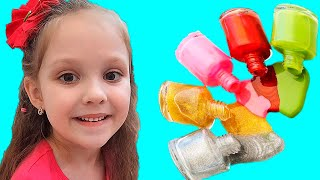 Lisa pretend play with magic nail polish colors by Lisa Kids Show