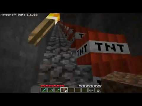 Blowing up a griefer base in Minecraft