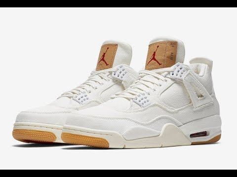 Jordan Retro 4 x Levi's White Detailed