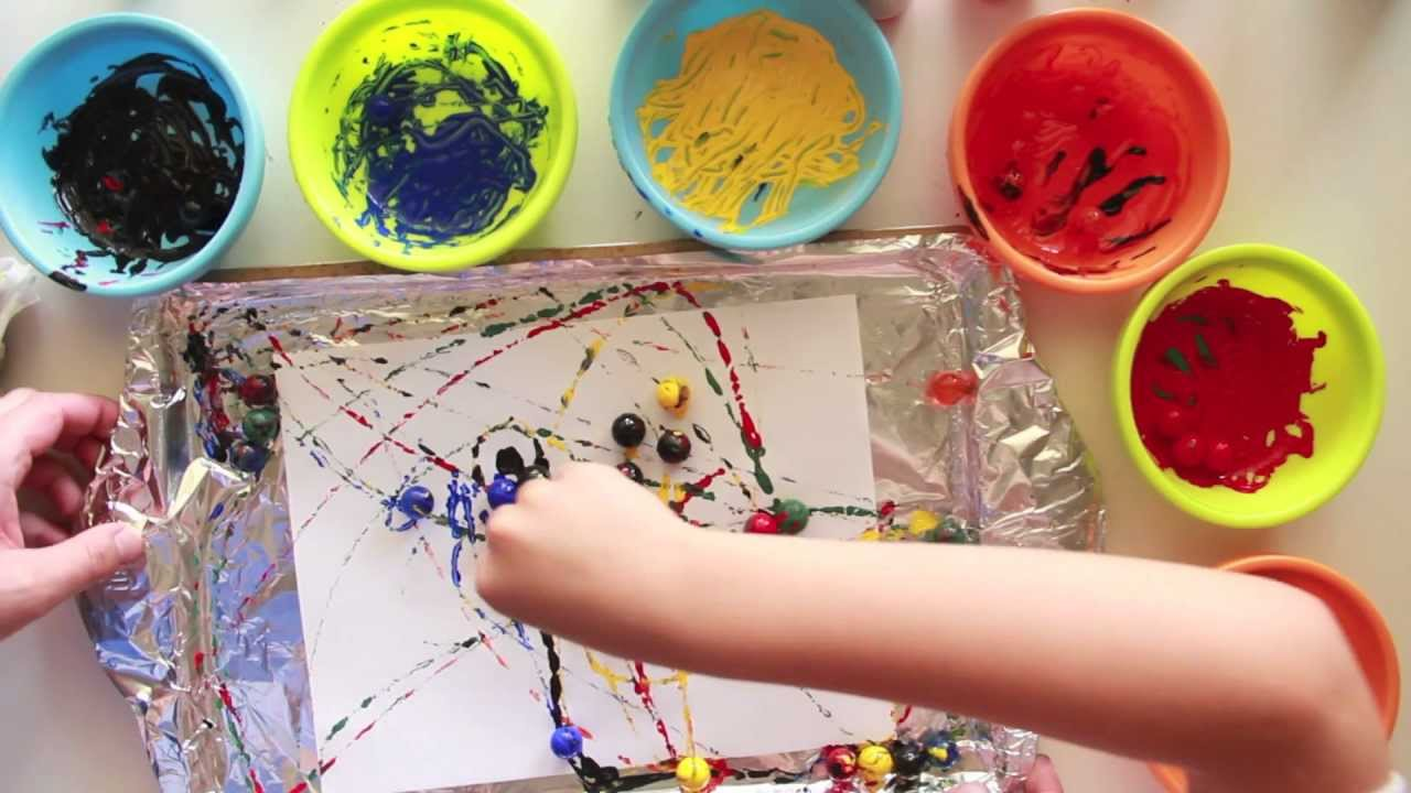 painting with marbles youtube - Kids Painting Images