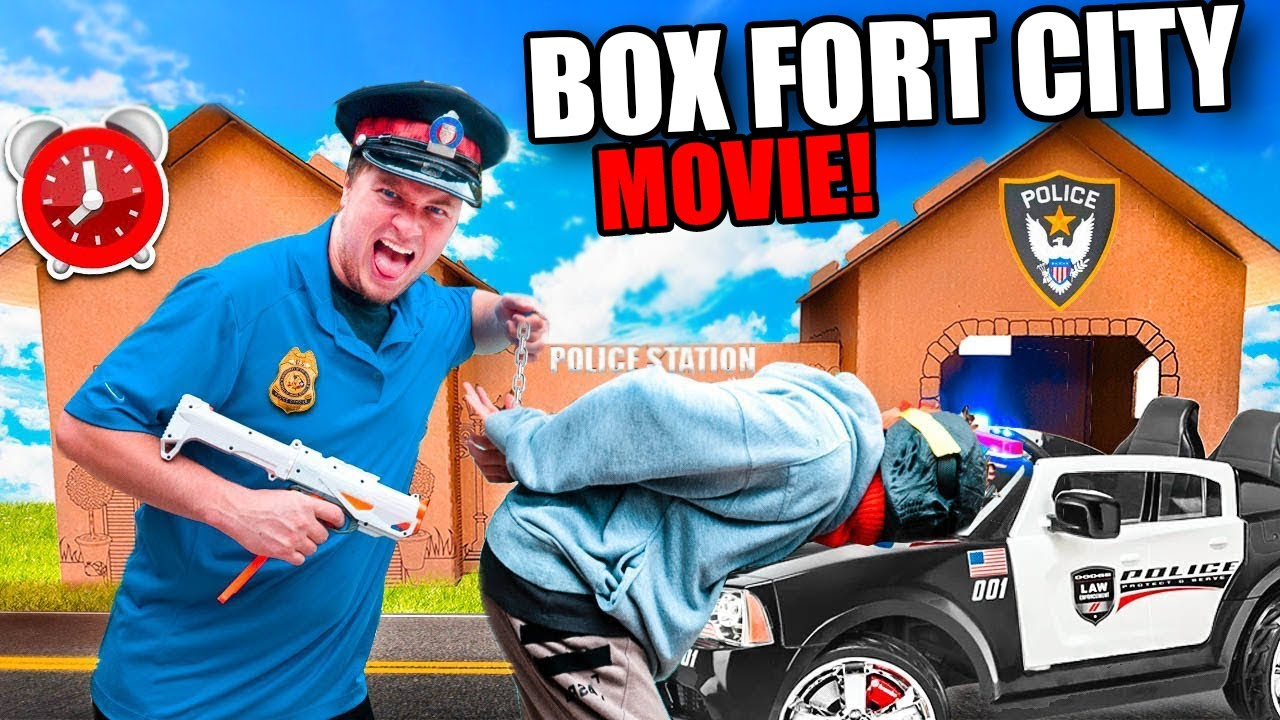 Worlds Biggest Box Fort City The Movie - Living In Cardboard 24 Hour Challenge