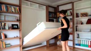 Wall Bed Folded Behind Sliding Bookshelves
