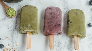  Paletas Súper Poderosas de Avena, Matcha, Blueberries y Lavanda 🧊