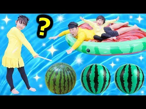 ★スイカ割り!「どれが本物のスイカ~??」ニセモノは20個!!★Watermelon split★