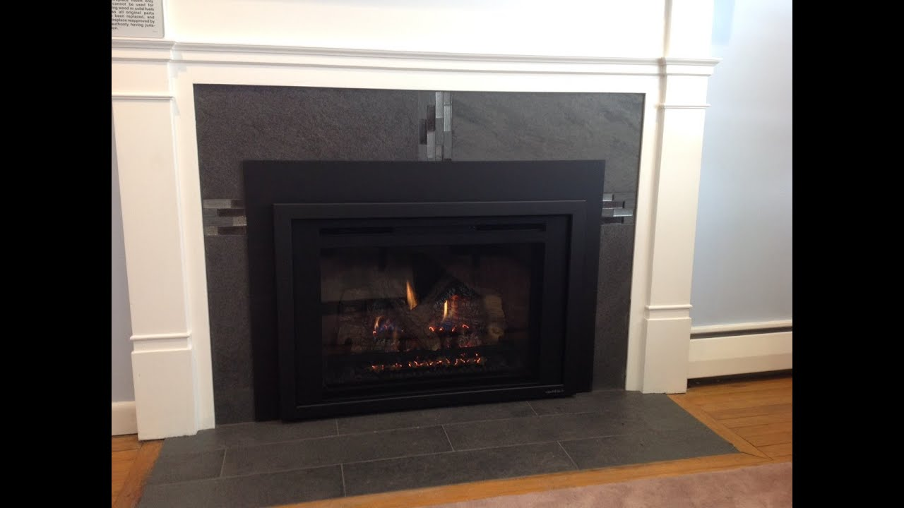 How to reface a fireplace for a gas insert - YouTube