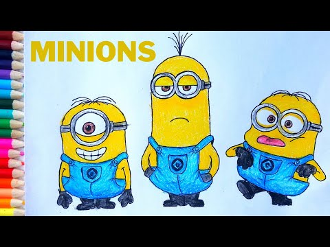 How To Draw Minions- Stuart, Kevin, Bob Step By Step Easy Drawing U0026 Coloring Tutorial #LipsitaArt