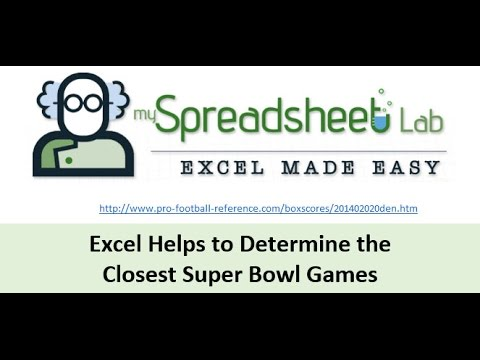 Video 00119 Excel Helps to Determine the Closest Super Bowls
