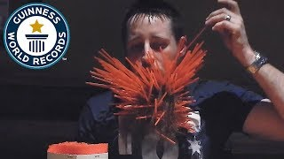 Most straws in a beard - Guinness World Records
