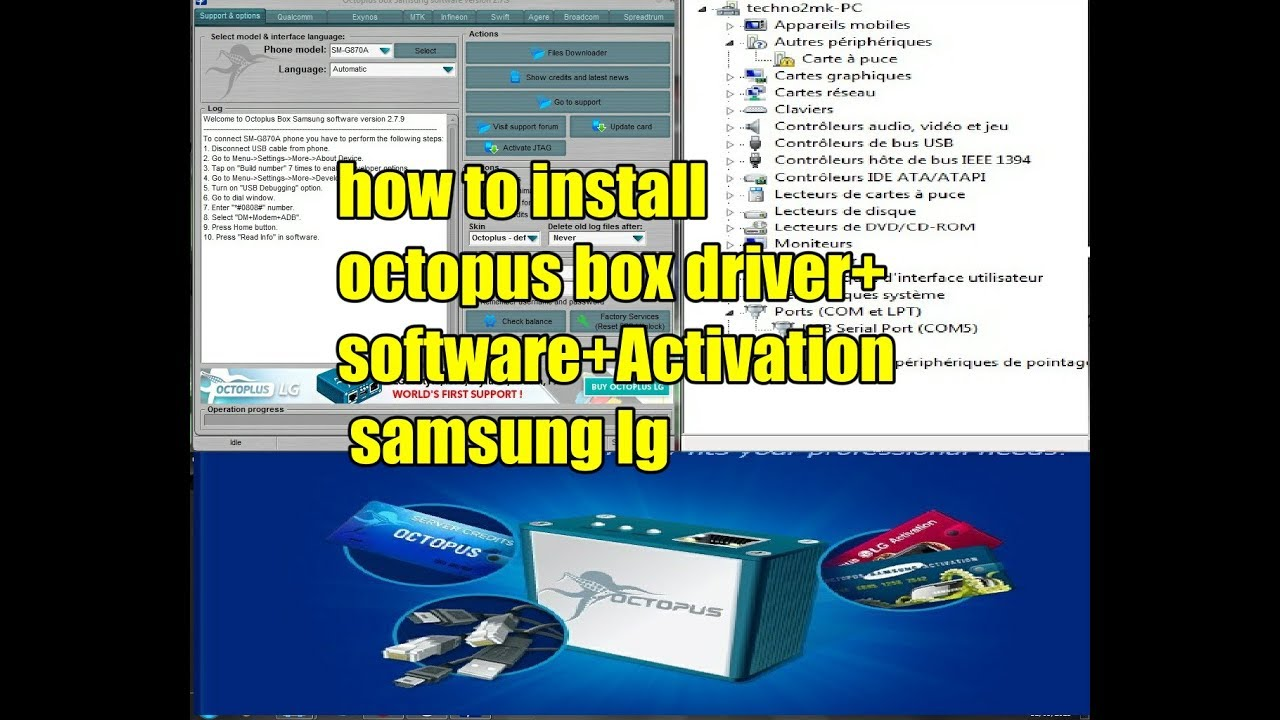 how to install octopus box driver + software+Activation samsung lg